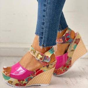 Shoes - Pink Floral Wedge Sandal